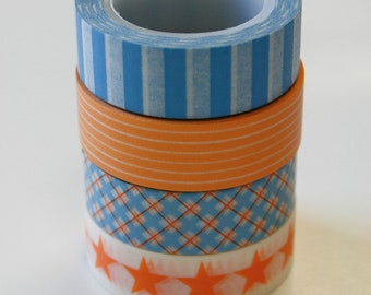 Washi Tape Set - 15mm - Orange and Blue - Four Rolls Washi Tape. 70/101/111/378