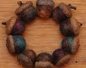 Felted Acorns Orange Blue Purple Shimmer,  Also Available as Ornaments