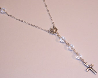 Necklace, Sterling Silver Cross, Swarovski Crystals
