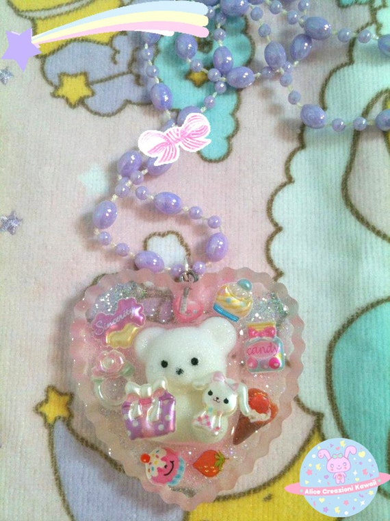 cute candy bear kawaii  Necklace Fairy Kei resin pastel kawaii