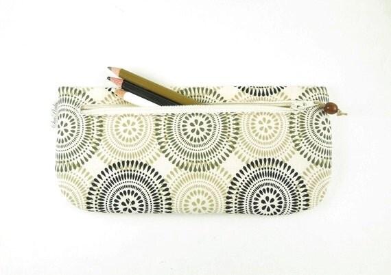 Black Brown and Tan Circles Mod Pencil Case Zipper Pouch