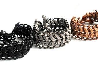 Hand woven Chain Bracelet / Chunky Chain Leather Bracelet / Tribal Chic Chevron Bracelet  Copper, Gunmetal, Black Monochromatic Cuff for her