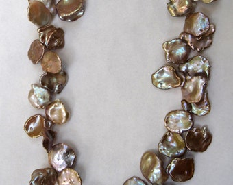 Necklace, Champagne Keishi Cornflake Pearl Necklace Wedding Necklace - Wear Beige and Shut Up