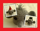 INSTANT DOWNLOAD Crochet Pattern Tutorial 78 Cute Elephant Beanie Hat & 2 mini christmas and elegant bow hat 6 sizes Included