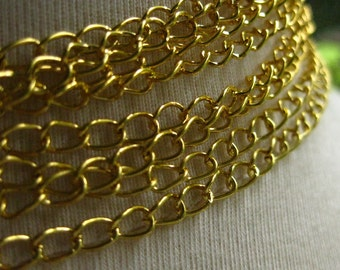 New Old Gold Plated Chain 5mm by 3.5mm 1 Foot 31 cm open links