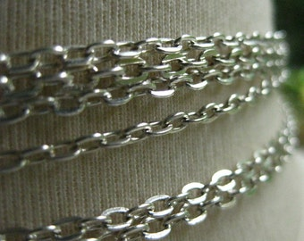 Silver Plated Cable Chain 3.5mm by 2mm 5 feet (152 cm) SB352E