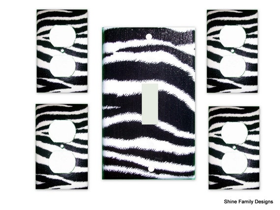 Zebra Print III Light Switch Plate/Outlet Covers 5pc Set - Black and White