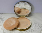 Round 1960s Vintage Powder Compact Vanity Case Blue Enamel Gold Tone