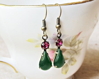 Jade Green Earrings Pink Glam It Up Fuchsia Emerald Vintage Glass. Jewel Two Cheeky Monkeys Jewellery. Jewelry Handmade For Her Tuscany