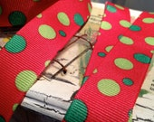7/8' CHRISTMAS GRINCH DOTS Grosgrain Ribbon sold by the yard