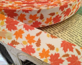 "7/8"" Fall Leaves Foilage  Grosgrain Ribbon sold by the yard"
