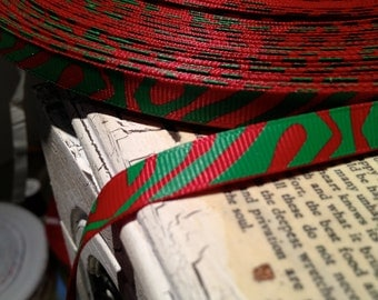 """3 yards 3/8"""" CHRISTMAS Red and Green ZEBRA ANIMAL Print grosgrain sold by the yard"""