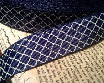 "7/8"" BLUE QUADRAFOIL Themed Grosgrain  Ribbon sold by the yard"