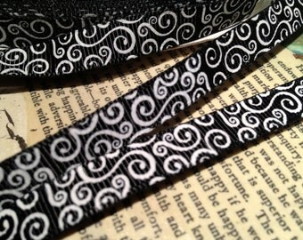 "3 YARDS 3/8"" Black and White SWIRL Loop Grosgrain Ribbon"