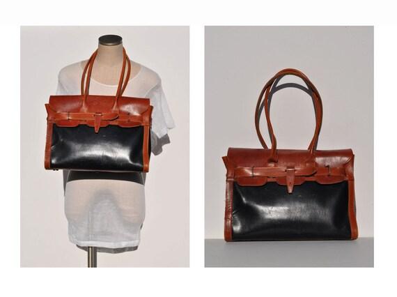 vintage leather bag  purse LARGE purse BAG shoulder boho hippie hobo two tone