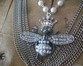 Vintage Layered Chain And Rhinestone Queen Bee Pendant Necklace, Shabby Chic Jewelry, Gypsy