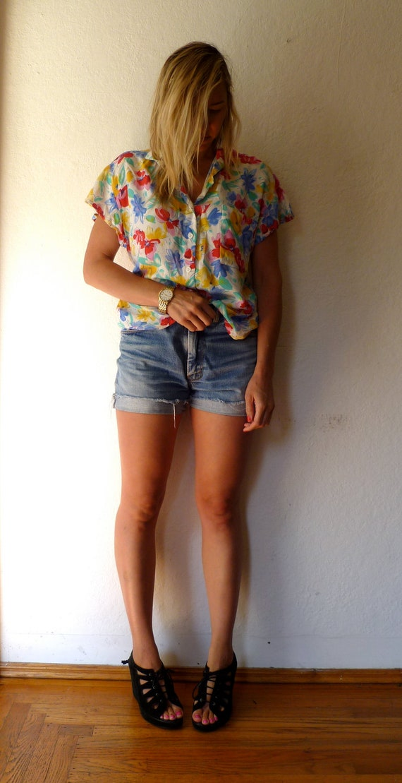 Vintage Floral Blouse Flowers Button Up Short Sleeves Summer Flower Shirt Red Blue White