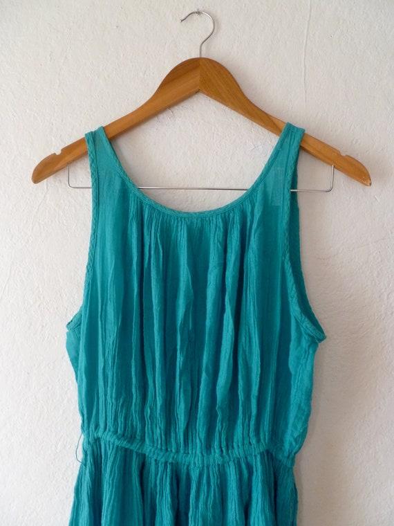Vintage Dress Sleeveless Open Back Gauze Teal
