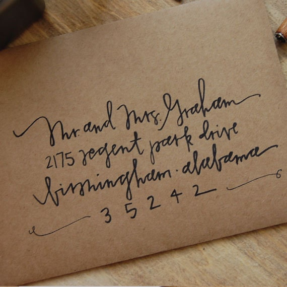 Handwritten Wedding Invitations Envelopes