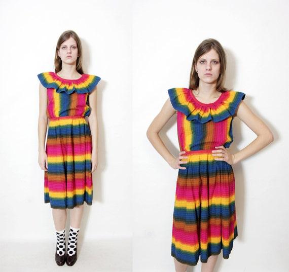 Vintage rainbow dress / size S