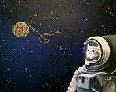 space kitty cat ball of yarn PRINT of original painting