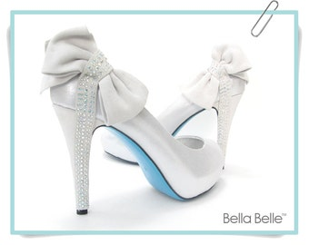 On Sale! Something BLUE SOLE Bridal Shoes Bow Crystal Silver Peep Toe Pumps Wedding Bride - Style name Tiffany