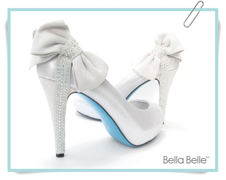 On Sale Something BLUE SOLE Bridal Shoes Bow Crystal Silver