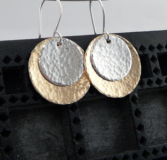 Earrings - Mixed Metal - Gold and Silver - Hammered DIscs - Dangle Earrings
