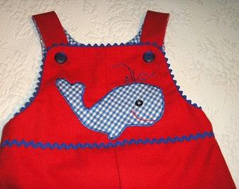 Take me on Vacation! Size 3/4 Red John John Shortall with Royal Blue and White Gingham Whale.  Ready to Ship.