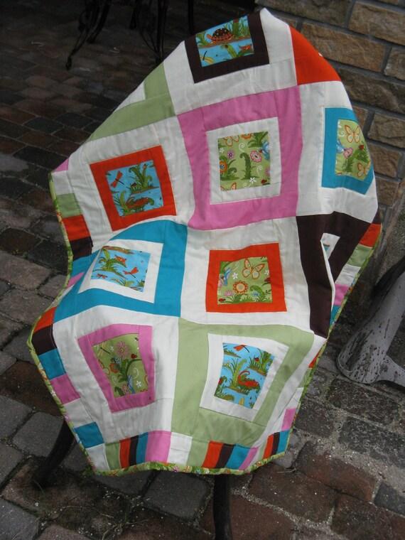 Garden friends baby quilt Free Shipping