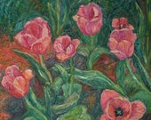 Waving Beauty Art 20x16 Impressionist Tulip Oil painting by Award Winning Artist Kendall Kessler