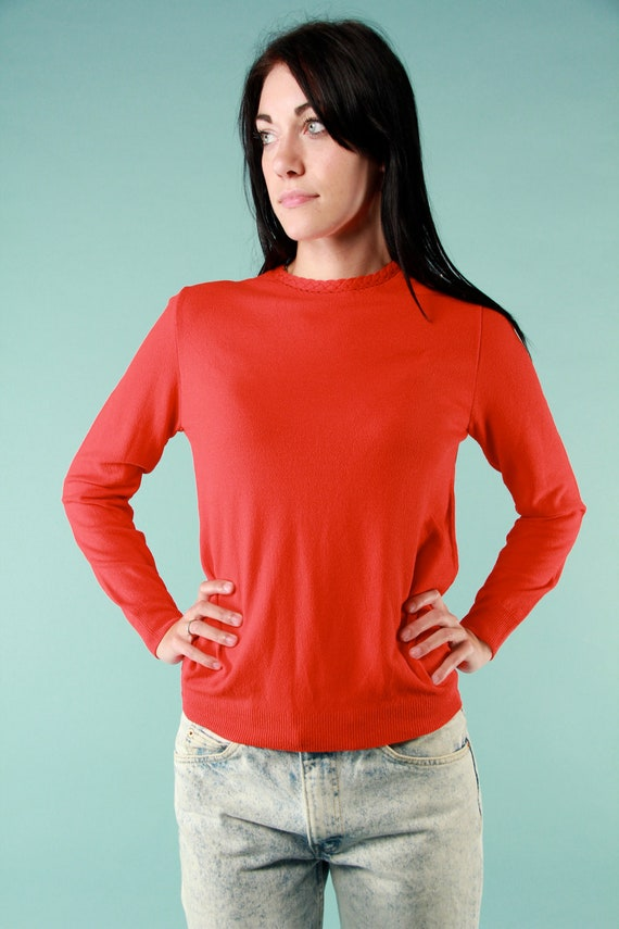 Vintage 1950s Apple Red Light Sweater Blouse w/ Cable Rope Neckline Easy Fit Long Sleeve Small