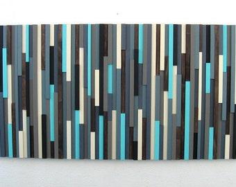 Blue Wall Art, Grey Wall Art, Wood Art, Wood Sculpture, Wall Art, Abstract Wall Art, Wood, Home Decor, Housewares