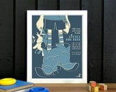 Cowboy Nursery Songs, Little Boy Blue, Uni-Sex Yellow Nursery Decor, Screen Printed Gig Poster