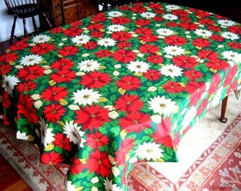 """Christmas Holiday Vintage BUT NEW Retro Holly Berries Big POINSETTIAS All Over 90"""""""
