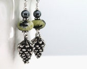 Earrings. pewter pinecones, yellow turquoise, sterling silver - CircleofLifeVA