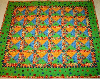 Baby Quilt, Lap Throw, Blanket, Pieced Primary Colours