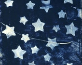 Dreamy Stars Photo - Blue and White Night Sky - Ethereal Starlight Bokeh Photograph Print - Surreal Nature Photography Cyanotype