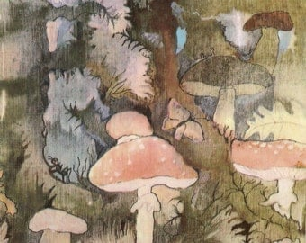 "Vintage Mushrooms Print ""Floral Fungi"" Antique Illustration Pink Mushrooms Floral Woodland Print"