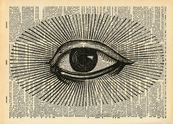 Steampunk Vintage Dictionary Print - All Seeing Eye - Spooky Victorian Art - Upcycled Recycled  Book Print - Surreal Occult Victorian Circus