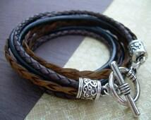 Womens  Leather Bracelet , Antique Brown -Black , Triple  Wrap, Triple Strands, Mothers Day Gift, Womens Bracelet, Womens Gift