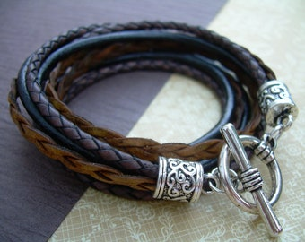 Womens Leather Bracelet, Leather Bracelet, Wrap Bracelet, Bracelet, Triple Wrap, Black, Brown, Womens Bracelet, Womens Gift,
