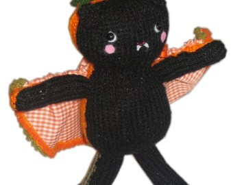 Bat and Pumpkin Two Faced Halloween Doll Pdf Email Knit Pattern