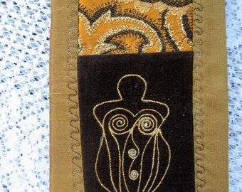 Earth goddess blank journal book of shadows fabric smash book cover travel ephemera collage