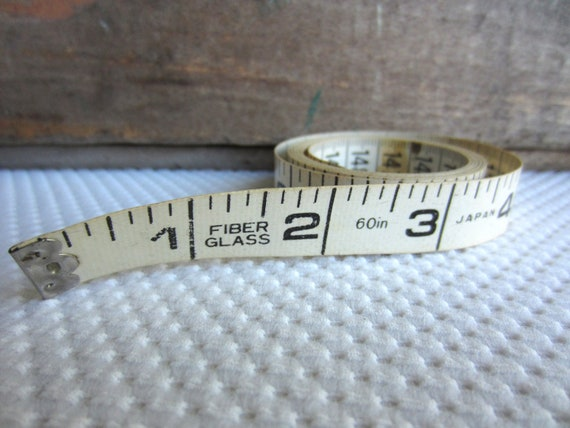 Vintage Tape Measure White Fiber Glass Inches Centimeters Made in Japan