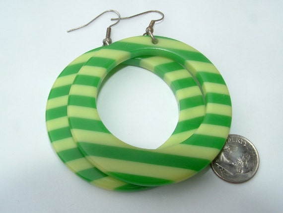 OOAK 1960s authentic giant lucite hoops  still gorgeous high quality  green stripes too- VINTAGE