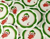 Christmas Stickers Envelopes Seals Owl with Santa Hat SES128