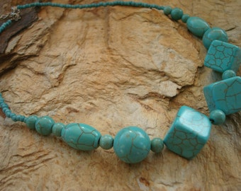 Turquoise Chunky Blue Beaded Necklace