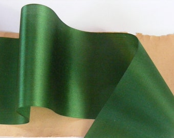 Antique 1900's Victorian French Silk Satin Ribbon 3 17/32 Inch Gorgeous Deep Emerald Green