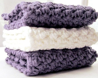 Cotton Washcloths, Crochet Washcloths, Cotton Facecloths, Crochet Facecloths, White Washcloth, Purple Cotton Cloths